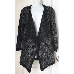 A.N.A Black Marble Knit Open Front Cardigan